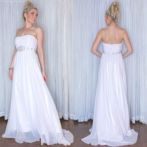 White Chiffon Pageant Wedding Bridal Prom Dress